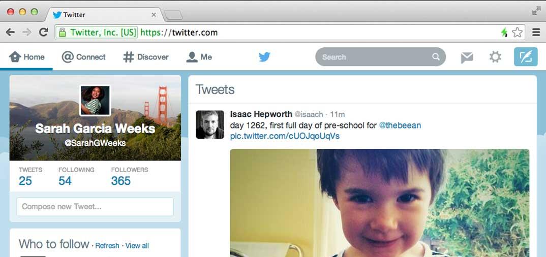 Aggiornamento dell'interfaccia di Twitter