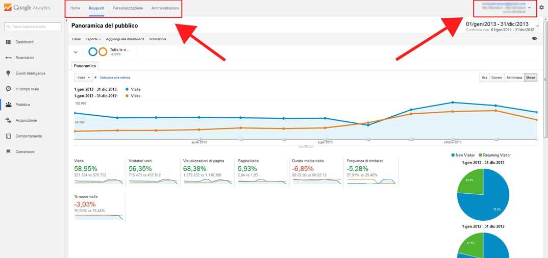 Cambia l'interfaccia di Google Analytics