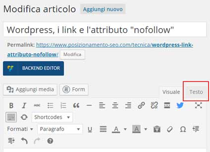 wordpress editor vista codice