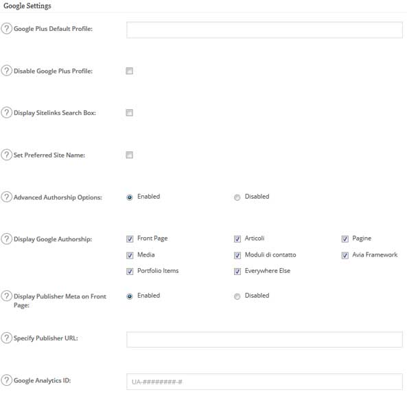 All in One SEO pack google Settings