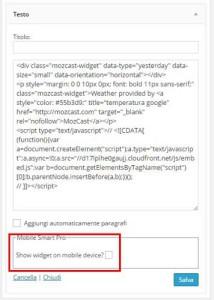 ottimizzare widget sito mobile