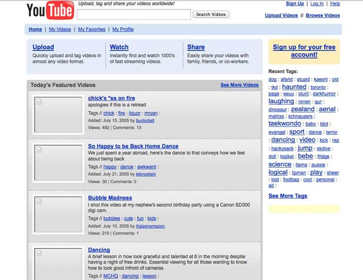 prima versione youtube
