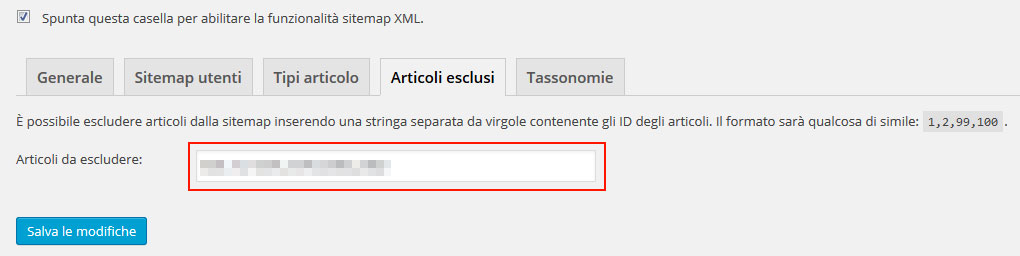 id esclusi sitemap xml