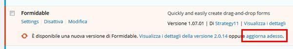 aggiornamento plugin wordpress