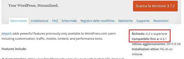 compatibilita plugin wordpress