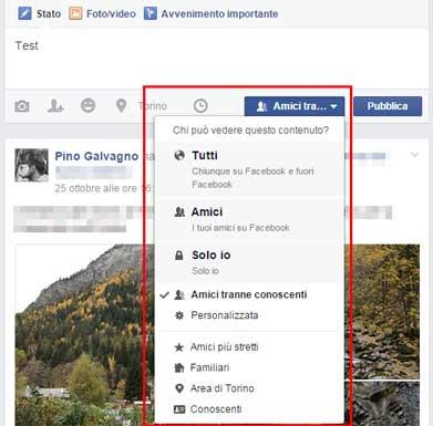 facebook-impostazione-visualizzazione nuovo post dashboard