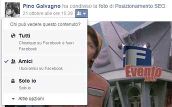 facebook impostazione visualizzazione post dashboard