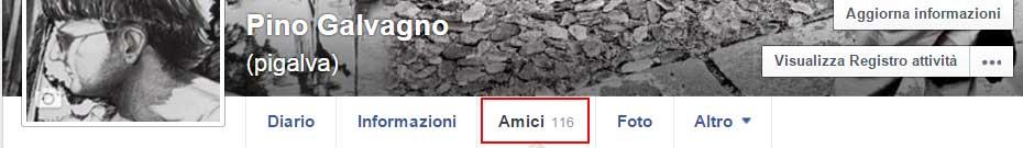 facebook menu amici