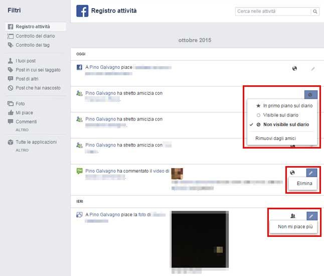 facebook registro attivita