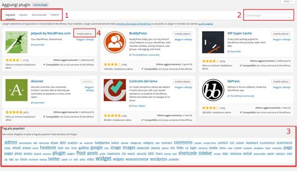 schermata plugin repository
