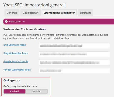 yoast disable OnPage.org