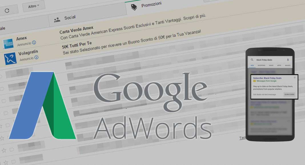 Novità in Google Adwords: Gmail ads e sms ads