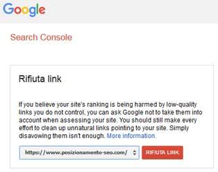 rifiuta link google search console