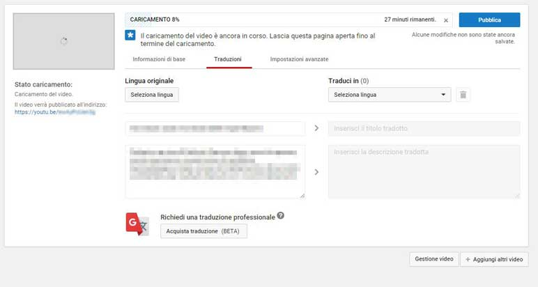 traduzione video youtube
