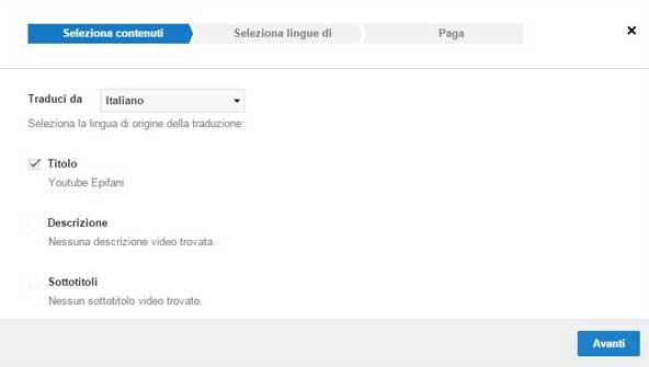 traduzione youtube seleziona contenuti