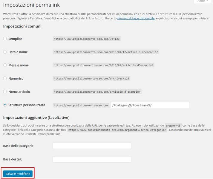 rigenerare permalink wordpress