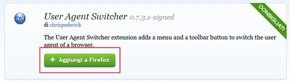 user-agent switcher aggiungi