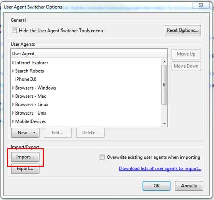 user-agent switcher options