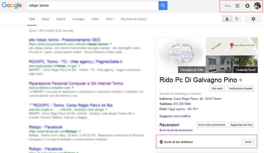 google invia al telefono