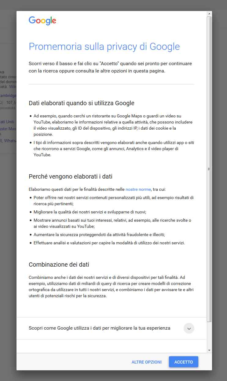 privacy google popup secondo
