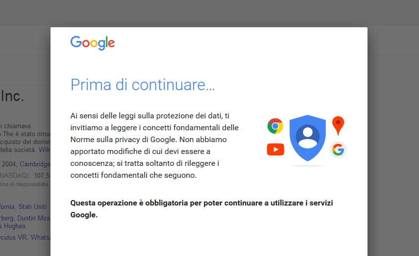 privacy google popup