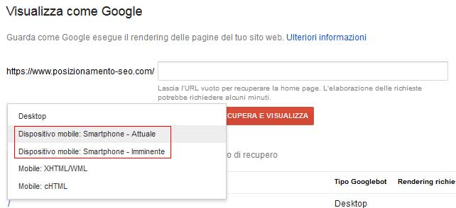 selezione googlebot