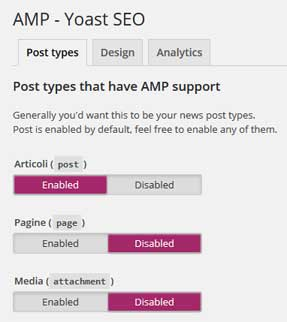 yoast glue amp post types