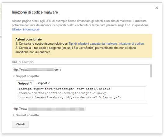 search console iniezione codice malware dettaglio