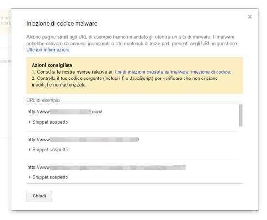 search console iniezione codice malware messaggio