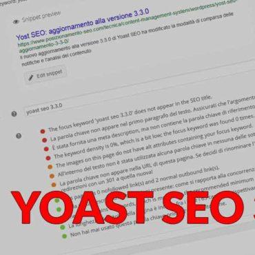 Yost SEO: aggiornamento alla versione 3.3.X