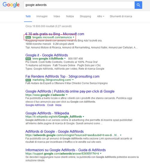 adwords label verdi