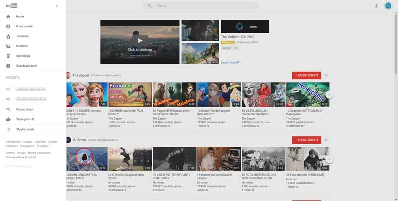 nuova interfaccia youtube aggregatore