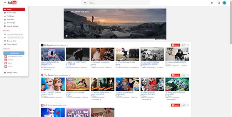 vecchia interfaccia youtube aggregatore