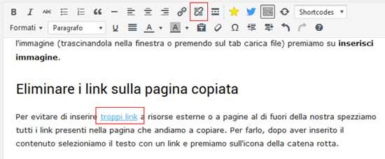 rompere link wordpress