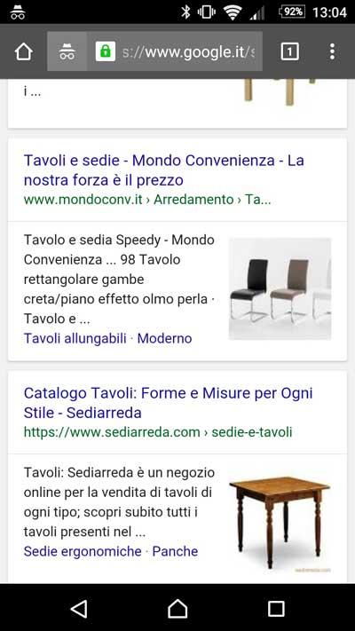 serp mobile immagine tavolo