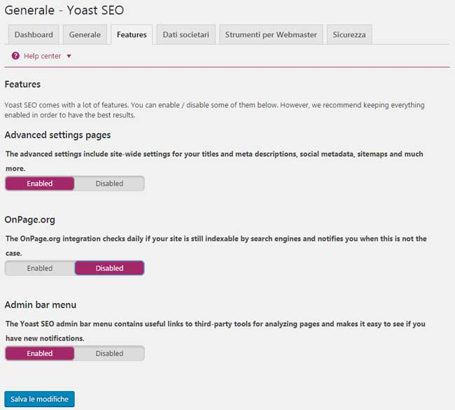 yoast seo generale features