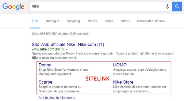 esempio sitelink query brand