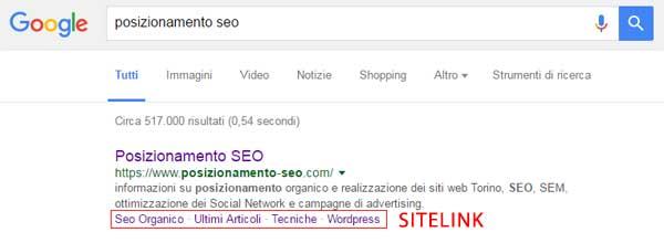 esempio sitelink query informativa