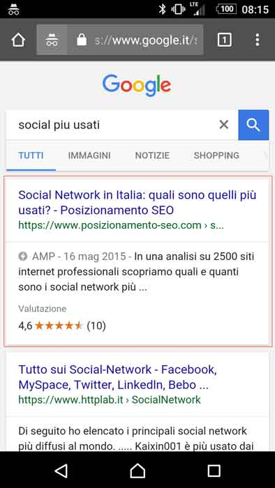 search mobile google italia amp
