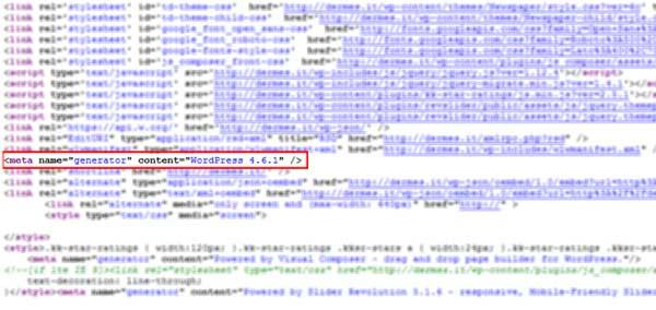 meta generator wordpress