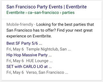 Risultato sulla search markup strutturato eventi