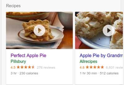 Risultato sulla search markup strutturato ricette