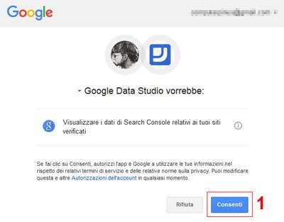Schermata di autorizzazione connessione data studio