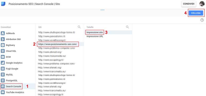 Schermata di selezione siti in search console data studio