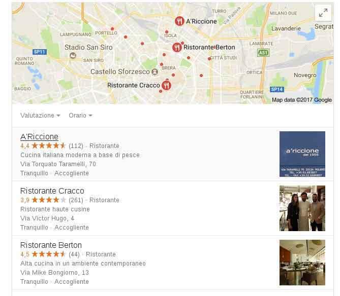 primi tre risultati nel local pack sulla serp di google